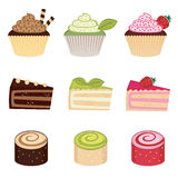 Dessert variopinti impostati Fotografia Stock
