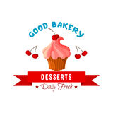 Dessert vector icon or emblem of cake or tart Royalty Free Stock Images