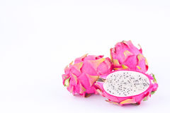 Dessert vivid and vibrant dragon fruit dragonfruit or pitaya on white background healthy dragon fruit food isolated Stock Photos