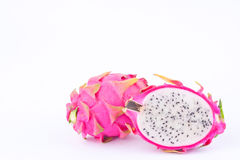 Dessert vivid and vibrant dragon fruit (dragonfruit) or pitaya on white background healthy fruit food isolated Royalty Free Stock Photo