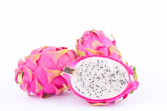 Dessert vivid and vibrant organic dragon fruit dragonfruit or pitaya on white background healthy dragon fruit food isolated Royalty Free Stock Photography