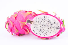 Dessert vivid and vibrant organic dragon fruit (dragonfruit) or pitaya on white background healthy fruit food isolated Stock Images