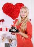 Dessert voor de dag van de valentijnskaart Stock Afbeelding
