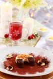 Dessert voor Kerstmis met overwogen wijn Stock Fotografie