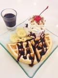 Dessert. Waffle Ice Cream Royalty Free Stock Photography