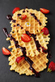Dessert with waffles Royalty Free Stock Image