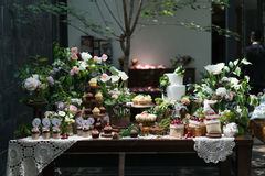 Dessert at the wedding. Dessert area at the wedding party Royalty Free Stock Image