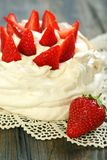 Dessert with whipped cream and strawberries. Stock Photography