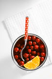 Dessert with woodland cherry and orange. Stock Images