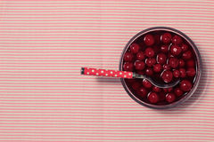 Dessert with woodland cherry. Royalty Free Stock Images