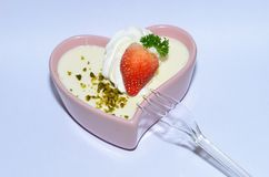 Dessert of yoghourt. With straberry and peanut Stock Image