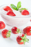 Dessert with yoghurt and strawberrys. Dessert with yoghurt and some fresh strawberrys Royalty Free Stock Photos
