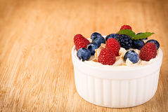 Dessert with yogurt and fresh berries Royalty Free Stock Images
