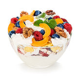 Dessert with yogurt and fresh berries isolated. Stock Image