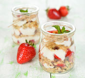 Dessert with yogurt and granola Stock Image