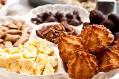 Dessertdienbladen voor het verleiden van ons allen Stock Foto