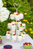 Dessertlijst in een tuin Stock Fotografie