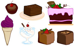 Desserts. Of cakes, ice creams, chocolates for dining, restaurants and others royalty free illustration