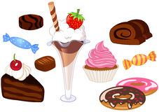 Desserts. And sweets illustration set Royalty Free Stock Images