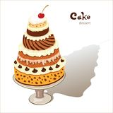 Desserts. Vector of a big cake on a plate Stock Images