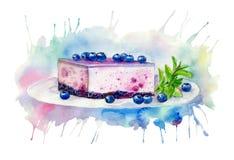 Desserts avec des myrtilles Gâteau au fromage et menthe illustration stock