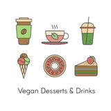 Desserts and Beverages including Fresh Coffee, Hot Green Organic Tea, Green Smoothie, Vegan Ice Cream, Sweet Donut and Piece of Ca. Vector Simple Icon Style stock illustration