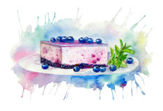 Desserts with blueberries.Cheesecake and mint. Food picture.Watercolor hand drawn illustration.Background colored splash Royalty Free Stock Photography
