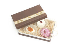 Desserts in brown box Royalty Free Stock Photography