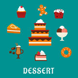 Desserts with cake and confectionery icons Royalty Free Stock Photo