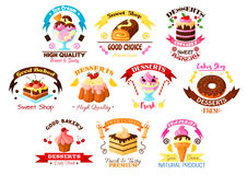 Desserts and cakes vector icons or emblems set Stock Images