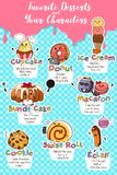 Desserts in Characters Illustration Stock Photography