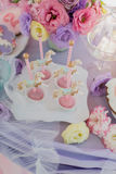 Desserts on the children's birthday party Royalty Free Stock Image