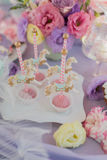 Desserts on the children's birthday party Royalty Free Stock Photo