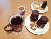 Desserts and coffee. Are on the table, sunday welfare with dessert and coffee stock photo