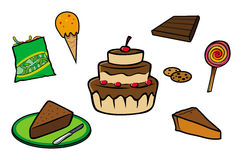 Desserts collection. Cartoon illustration of a desserts collection vector illustration
