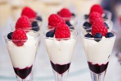Desserts colorés fournis dans des pots en verre Photo stock