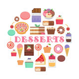Desserts composition. Vector web illustration. Flat design Royalty Free Stock Photography
