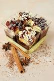 Desserts crémeux dans des glaces Photo libre de droits