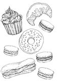 Desserts. Cupcake, croissant, doughnut, macarons, eclair - drawn in pen and ink style vector illustration