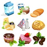 Desserts, dairy products, coffee beans and other food Royalty Free Stock Images