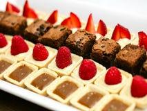 Desserts de framboise et de chocolat Photos stock
