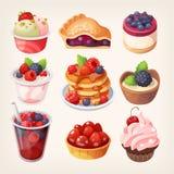 Desserts de fruit de forêt illustration stock