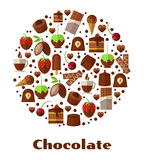 Desserts and delicacies, chocolate food round sign Stock Photos