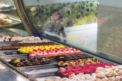 Desserts in display case Stock Photography