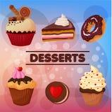 Desserts doux réglés illustration stock