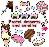 Desserts et sucreries colorés en pastel mignons illustration stock