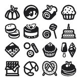 Desserts flat icons. Black Stock Photos