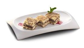 desserts Gâteau de vanille et souris de chocolat Photo stock