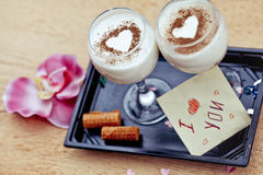 Desserts on a holiday St. Valentine's Day Royalty Free Stock Images
