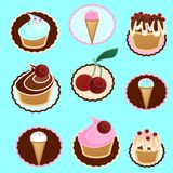 Desserts icons. Icons of ice cream, pastry, sweet bakery, cupcakes. Vector illustration Stock Image